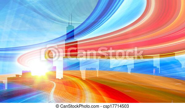Abstract Illustration einer städtischen Autobahn, die in die moderne Stadt Innenstadt geht, Geschwindigkeit Bewegung mit bunten Lichtpfade. - csp17714503