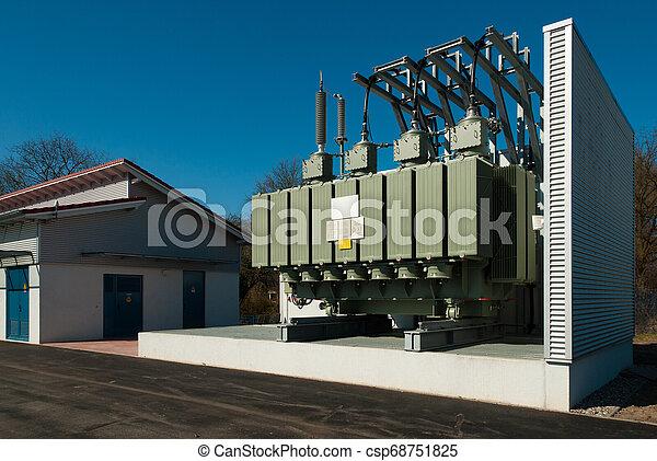städtisch, transformator, bezirk, elektrizität, station, vorräte - csp68751825