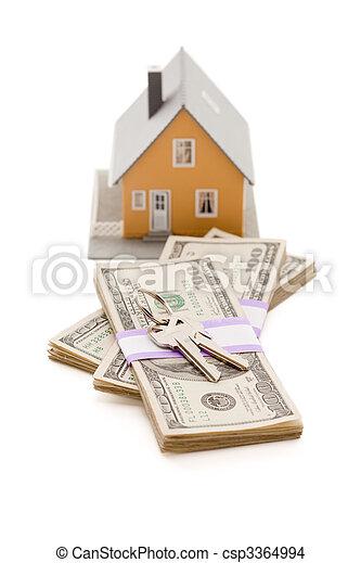 stämm, pengar, isolerat, hus, hem, stack - csp3364994
