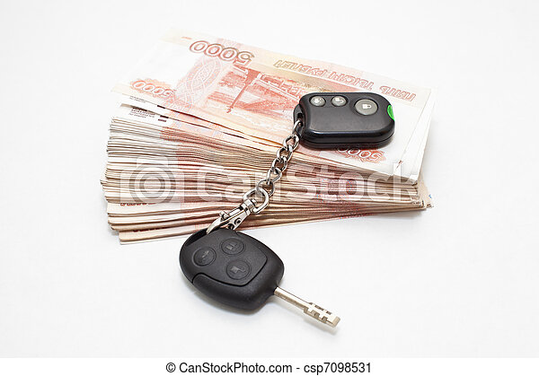stämm, pengar, vit, stack, bil - csp7098531