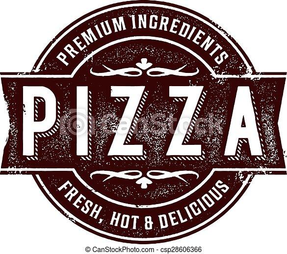 stämpel, årgång, pizza, underteckna - csp28606366