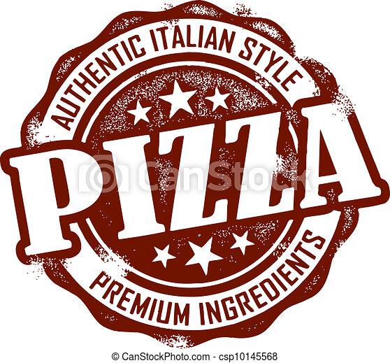 stämpel, årgång, stil, pizza, meny - csp10145568
