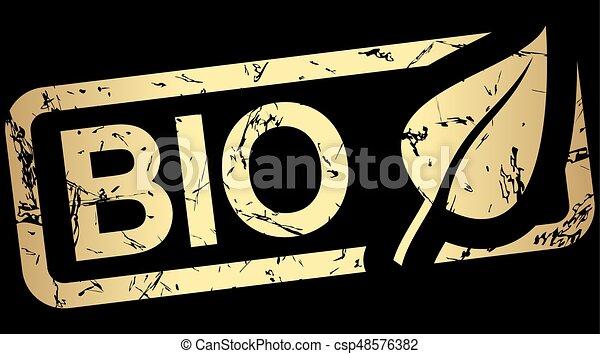 stämpel, text, guld, bio - csp48576382