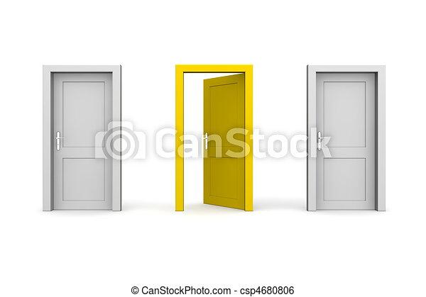 stängd, -, grå, gul, två, tre, dörrar, en, öppna - csp4680806