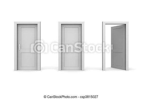 stängd, rättighet, -, tre, grå, två, dörrar, en, öppna - csp3815027