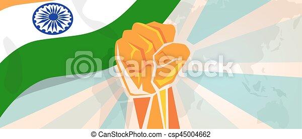Stärke Weisen Symbolisch Aufstand Indien Protest Abbildung