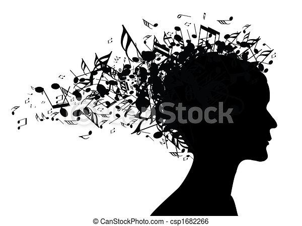 stående, kvinna, silhuett, musik - csp1682266