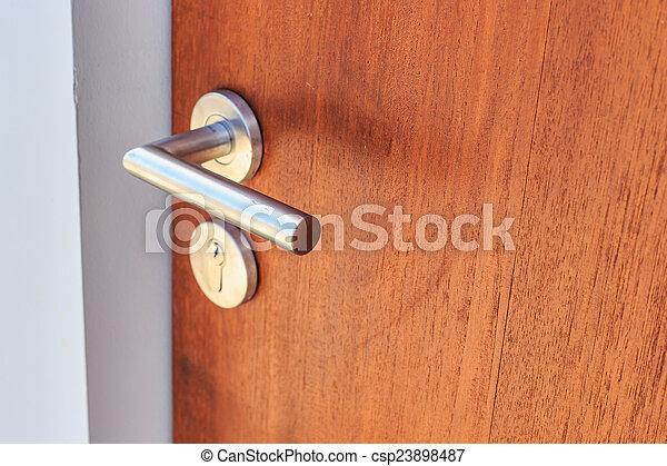 stål, rostfri, dörr hantera - csp23898487
