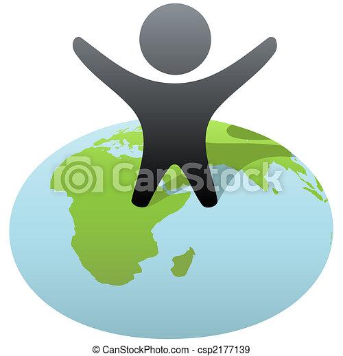stænder, held, klode, person, symbol, fejre - csp2177139