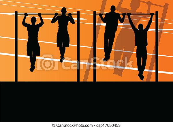 stærke, gymnastiksal, illustration, aktiv, silhuetter, vektor, baggrund, duelighed, gåpåmodet, sport, ups, mand - csp17050453