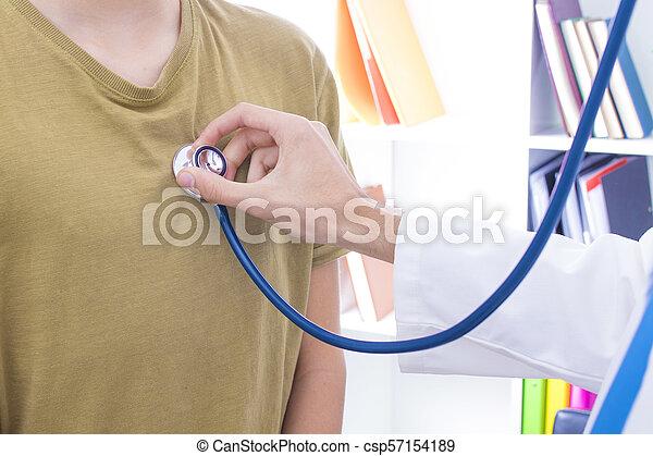 stéthoscope, patient, écoute, docteur - csp57154189