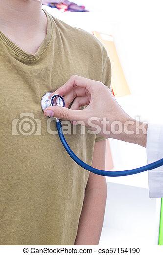 stéthoscope, patient, écoute, docteur - csp57154190