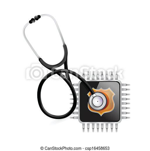 stéthoscope, puce, électronique, illustration - csp16458653