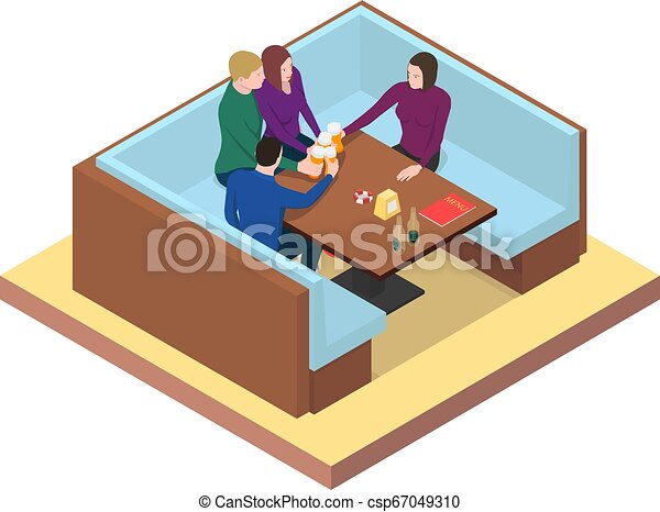 stół, piwo, napój, przyjaciele, bar. - csp67049310