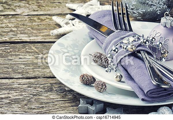 stół umieszczenie, atmosfera, srebro, boże narodzenie - csp16714945