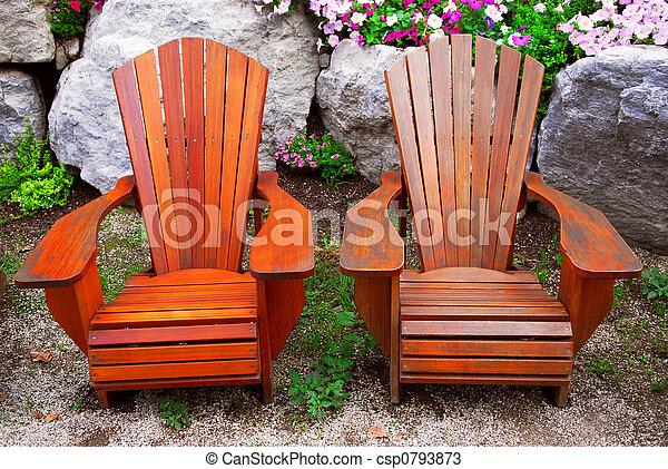 stühle, gartenterasse - csp0793873