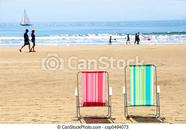 stühle, sandstrand - csp0494073