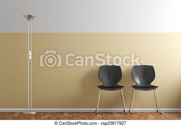 Stühle Wartezimmer Zimmer Stühle Warten Gelber Wand Lampe