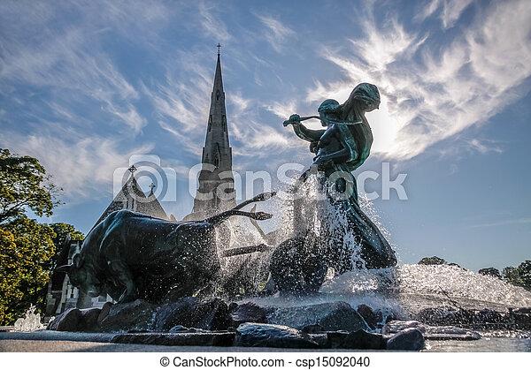 St. Alban's Church and Gefion Fountain in Copenhagen - csp15092040