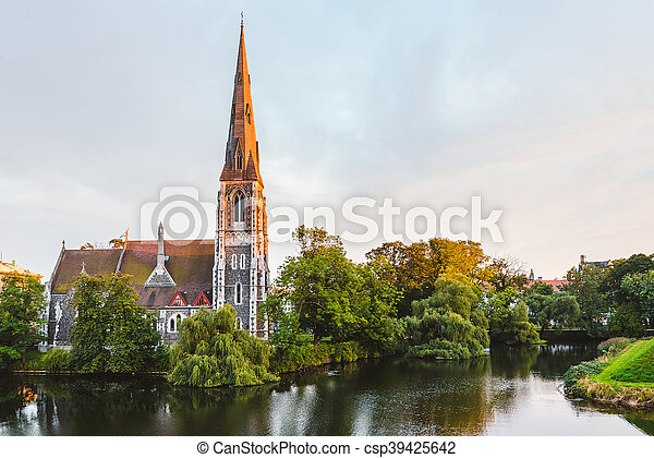 St. Alban's Church at Golden Hour Time - csp39425642