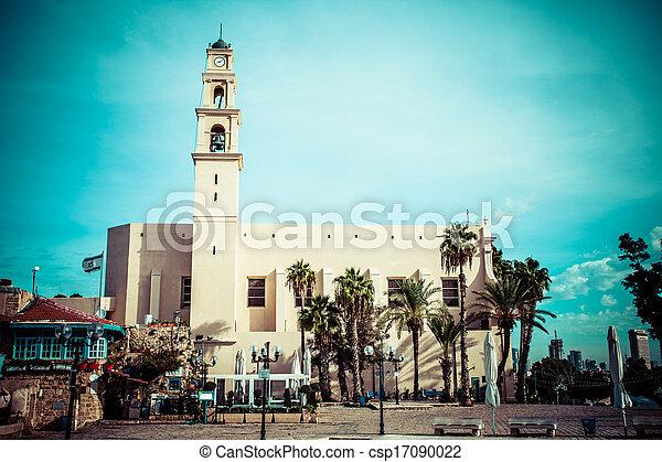 st. 。, aviv, franciscan, 教会, ∥電話番号∥, ピーター, 部分, israel., jaffa - csp17090022