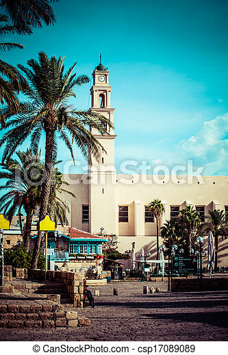 st. 。, aviv, franciscan, 教会, ∥電話番号∥, ピーター, 部分, israel., jaffa - csp17089089