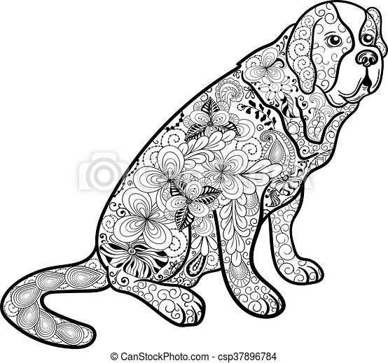 illustration st bernard dog was created in doodling style in