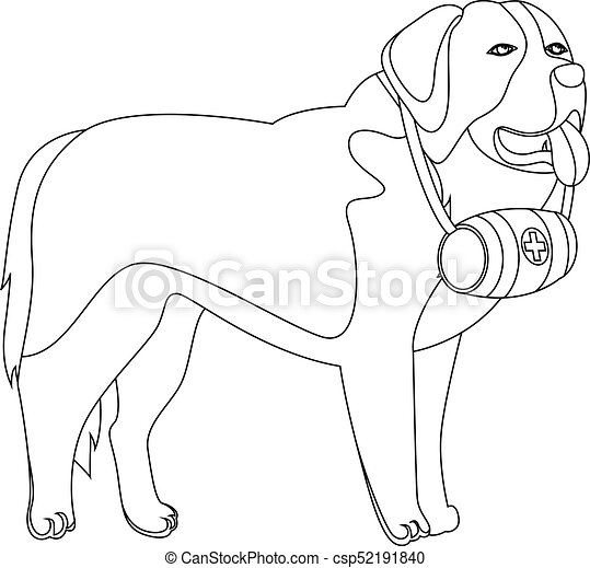 st bernard dog lifesaver outline vector illustration