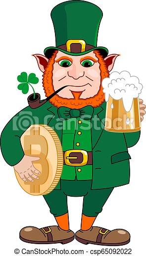 st., birra, patrick's, tubo, tazza, gnomo, bitcoin., fumo, giorno - csp65092022