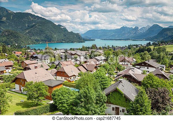 St Gilgen village at Wolfgangsee in Austria - csp21687745