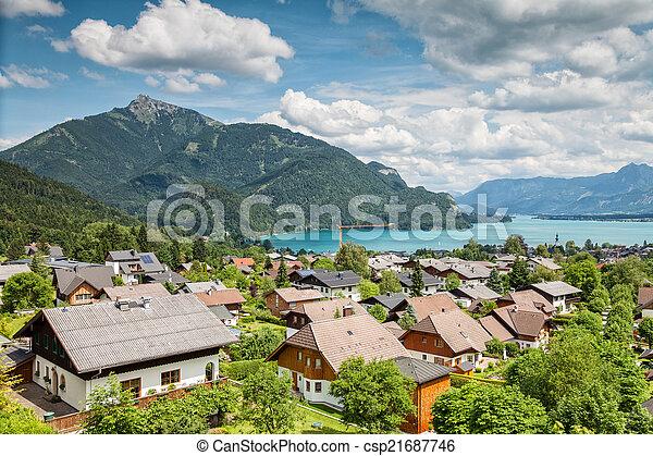 St Gilgen village at Wolfgangsee in Austria - csp21687746