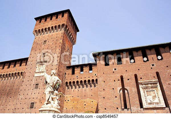 St. John of Nepomuk under the Sforzesco castle in Milan - csp8549457