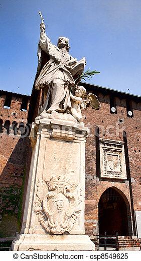 St. John of Nepomuk under the Sforzesco castle in Milan - csp8549625