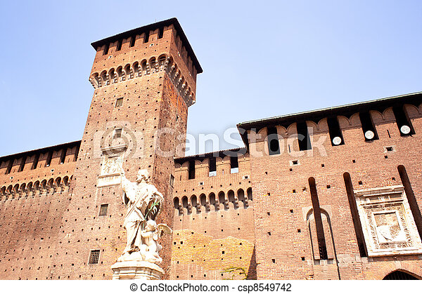 St. John of Nepomuk under the Sforzesco castle in Milan - csp8549742