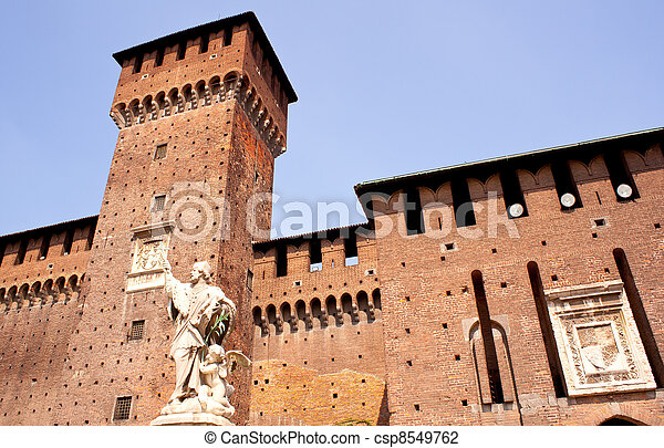 St. John of Nepomuk under the Sforzesco castle in Milan - csp8549762