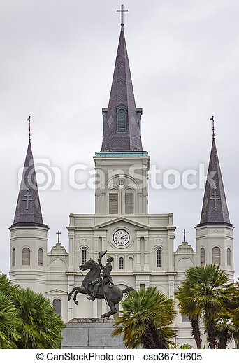 St. Louis Cathedral at Jackson Square New Orleans - csp36719605
