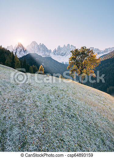 St. Magdalena village. Location Funes valley, Dolomites, South Tyrol, Italy. Europe. - csp64893159