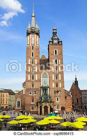St. Mary's Church, famous landmark in Krakow, Poland.  - csp9696415