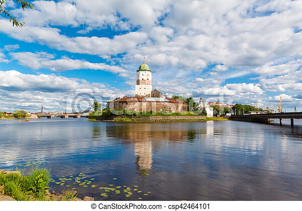 St. Olov castle, old medieval Swedish in Vyborg - csp42464101