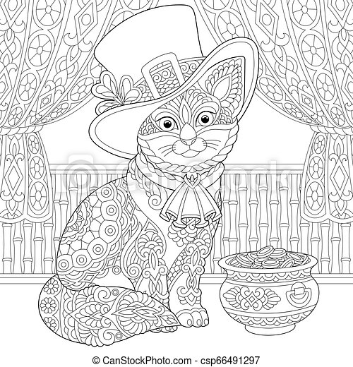 St. Patrick Day cat coloring page - csp66491297