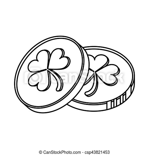 St Patrick Day Coins Sign Outline Vector Illustration Eps 10