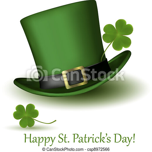 St Patrick Day hat with clover - csp8972566