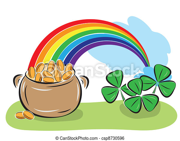 St. Patrick Day pot with coins, rainbow and shamrocks - csp8730596