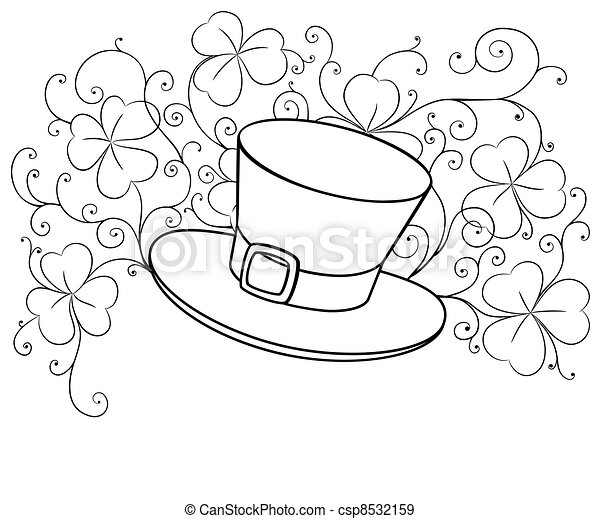Sketch Drawing Of St Patrick Hat And Clovers