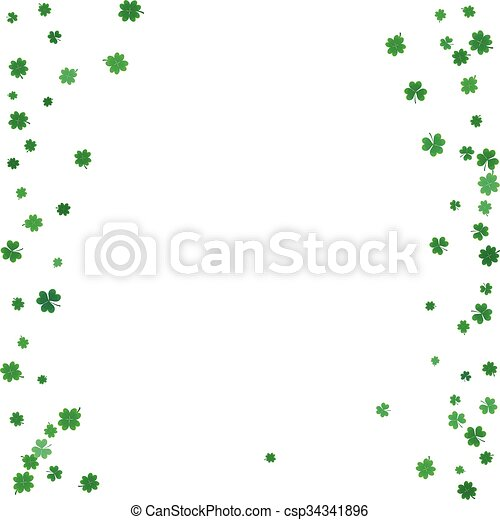 St. Patricks day background with flying clovers.  - csp34341896