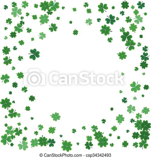 St. Patricks day background with flying clovers.  - csp34342493