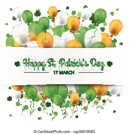 St. Patrick's Day Banner Balloons Shamrocks - csp34018083