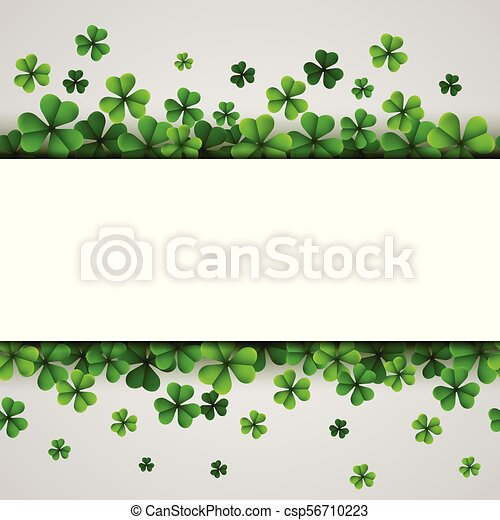 St. Patrick's Day banner with green shamrocks - csp56710223