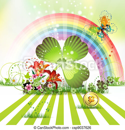 St. Patrick's Day card design with - csp9037626