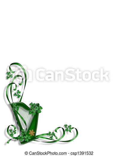 St Patricks Day Celtic Harp corner - csp1391532